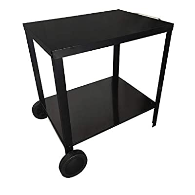 Beneffito Portimao – Barbecue Trolley – Outdoor Side Table in Stainless Steel with Wheels for Grill – Two Trays – Black from Beneffito