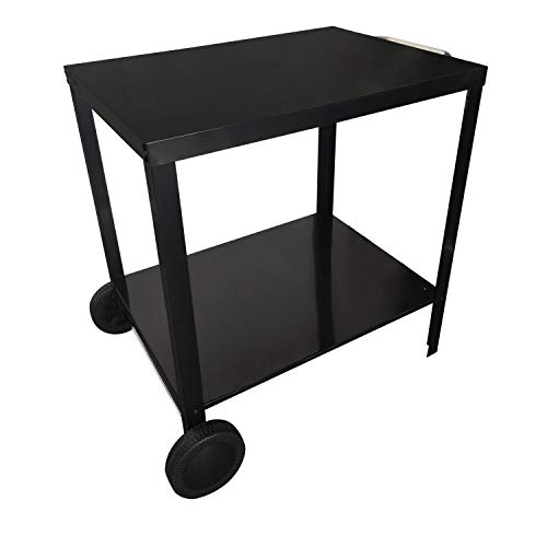 Beneffito Portimao – Barbecue Trolley – Outdoor Side Table in Steel with Wheels for Grill – Two Trays – Black