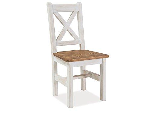 Holzstuhl Massiv Esszimmer Stuhl Landhaus Shabby Chic Küche Weiß Vintage Poprad