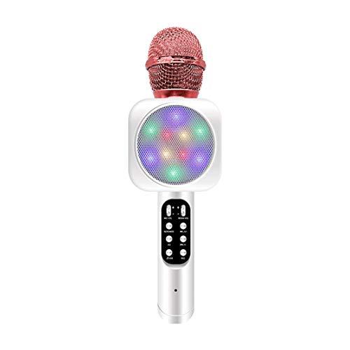A-myt Todos los Sonidos están bajo Control. Micrófono inalámbrico Bluetooth, Karaoke de teléfono móvil, micrófono Vivo, micrófono Profesional Bluetooth Tengo mi Musica (Color : White)