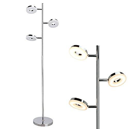 Modern LED Floor Lamp, Eye Care Corner Reading Standing Lamps Rotatable Floor Light, Trunk-Shaped Chrome 3 * 4W with StableLamp Base Standing Light for Living Room, Bedroom, Office