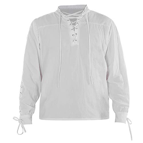Mens Pirate Shirt, Halloween Medieval Renaissance Retro Warrior Cosplay Costume Lace Up Blouse Tops (White, XL)