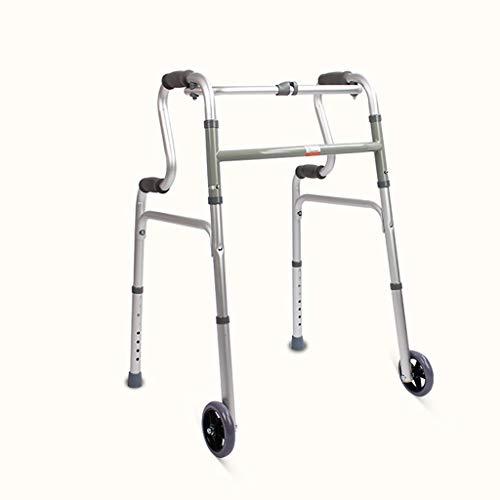 FKDEWALKER Aluminium Folding Lightweight Walking Frame,Walking Mobility Aid,Walker with 5-inch Wheels