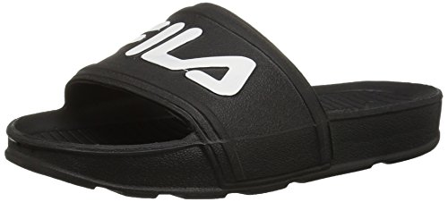 Fila Unisex-Kids Sleek Slide Sandal, Black/White/White, 1 Medium US Big Kid