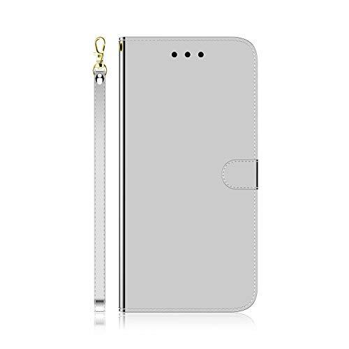 MOTO G7 Power Case, 3D Bling a prueba de golpes PU cuero Flip Wallet Fundas para teléfono Slim Fit TPU Bumper con soporte para tarjeta cubierta protectora magnética para MOTO G7 Power Silver White
