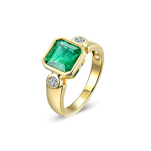 Aartoil 18K Yellow Gold Wedding Bands for Women Elegant Square 1.85ct Square Emerald With 0.16ct Diamond Ring (Emerald: 1.85ct/1pcs) Size J 1/2