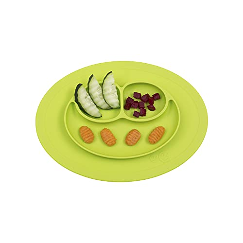 ezpz Mini Mat (Lime) - 100% Silicone Suction Plate with Built-in Placemat for Infants + Toddlers -...