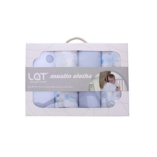 LAT Baby Mullwindeln Spucktücher 4er Pack, 70x70cm, Mulltücher OEKO-TEX zertifiziert Stoffwindeln aus 100% Baumwolle Faltwindeln als Mullwindeln, Pucktuch, Wickeltuch, Spuck- und Stilltuch(Kumpels)