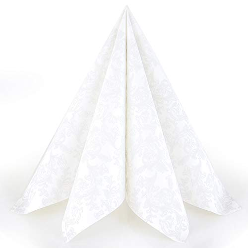 Servietten Ornament weiß Premium Airlaid, STOFFÄHNLICH | 50 Stück | 40 x 40cm | Hochzeitsserviette | hochwertige edle Serviette für Hochzeit, Geburtstag, Party, Taufe, Kommunion | made in Germany