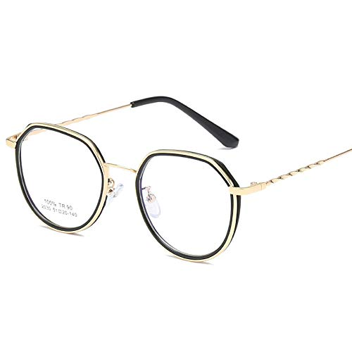 Ultralight Fashion bril, Persoonlijkheid Metaal Hybride, Transparant Art Flat Spiegel Transparante gouden lijst
