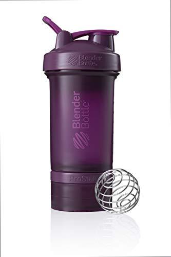 BlenderBottle ProStak Protein Shaker mit BlenderBall mit 2 Container 150 ml und 100 ml, 1 Pillenfach, optimal für Eiweiß, Diät und Fitness Shakes, skaliert bis 450ml, lila (650ml)