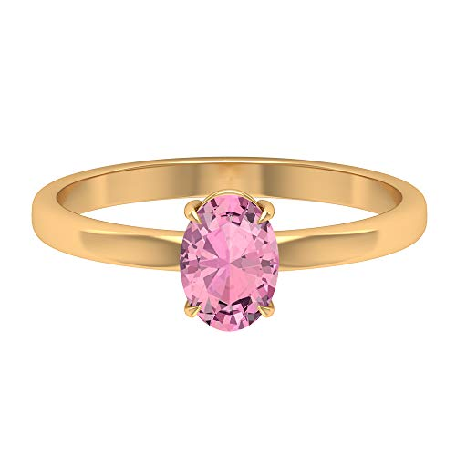 Anillo de promesa de solitario, 0,90 quilates en forma ovalada 7x5 mm turmalina, joyería de piedra natal de octubre, anillo de compromiso ovalado, 14K Oro amarillo, Size:EU 51