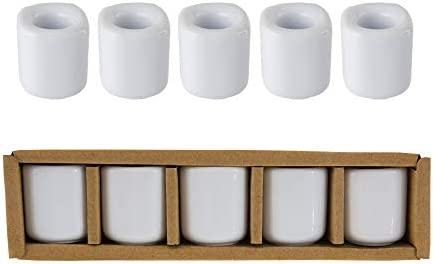 Mega Candles 5 pcs White Ceramic Chime Ritual Spell Candle Holders Great for Casting Chimes product image