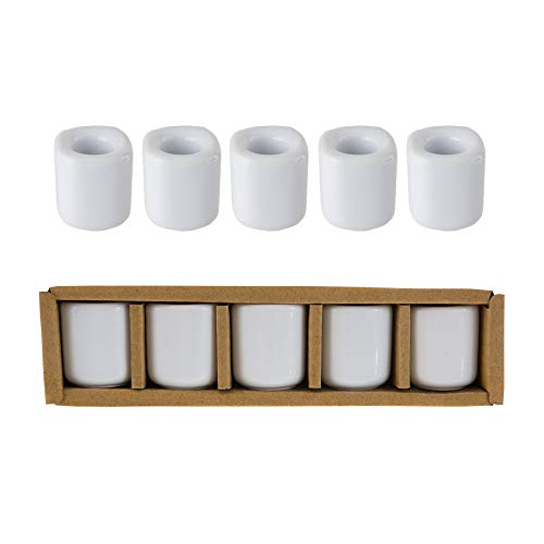 Mega Candles 5 pcs White Ceramic Chime Ritual Spell Candle Holders, Great for Casting Chimes, Rituals, Spells, Vigil, Witchcraft, Wiccan Supplies & More