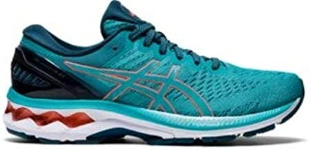 ASICS Women's Gel-Kayano 27 Running Shoe, Techno Cyan/Sunrise Red - 12