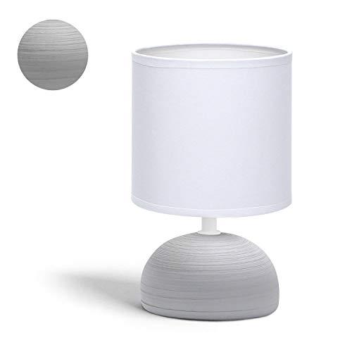 Aigostar 196974- Lámpara de cerámica de mesa, semioval gris, cuerpo de diseño sencillo color gris, pantalla de tela color blanco, casquillo E14. Perfecta para el salón, dormitorio o recibidor.