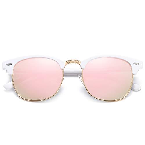 SOJOS Damen Herren Sonnenbrille Polarisiert UVprotect Optik Retro Vintage Horn Gestell Halbrahmen SJ5018 mit Weiß Rahmen/Rosa Linse