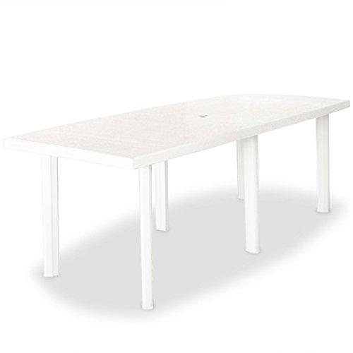 Festnight Table en Plastique de Jardin 210 x 96 x 72 cm Blanc