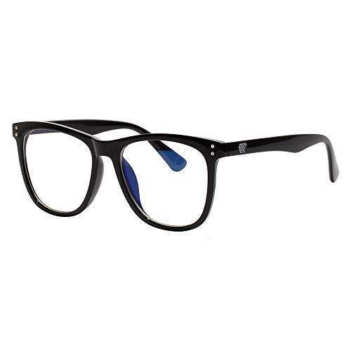 Sirain 青色光カットメガネ(透明レンズ)PCメガネ 輻射防止 視力保護 睡眠改善 目の疲れを緩和する ファション眼鏡 優雅である 原宿眼鏡 男女兼用8971 (ブラック)