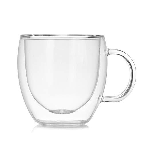 ZPEE Vasos de Vidrio Modernos Mini diseño de Doble Vidrio Diseño de café Espresso Taza Anti-escaldia Taza de café Taza de café Juego de Vasos de Vidrio