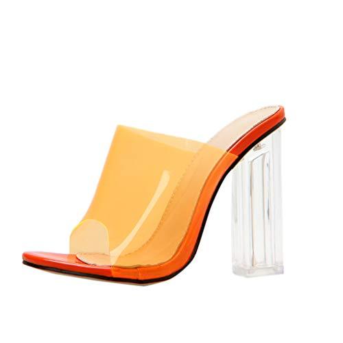 NMERWT Damen Sandalen High Heels Blockabsatz Plateau Sandaletten Frauen Spitzkleid Pumps Lässig Transparent High Heels Hausschuhe