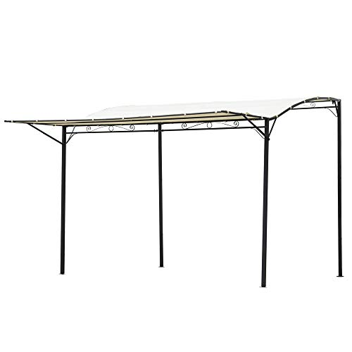 Outsunny Pergola tonnelle de Jardin avec auvent réglable métal époxy Polyester Haute densité crème