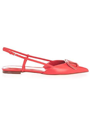 Luxury Fashion | Valentino Garavani Dames TW2S0R02MZFJU5 Rood Leer Ballerina's | Lente-zomer 20