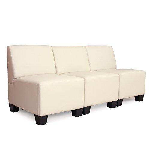 Sistema modulare Lione N71 salotto ecopelle divano 3 posti senza braccioli ~ avorio
