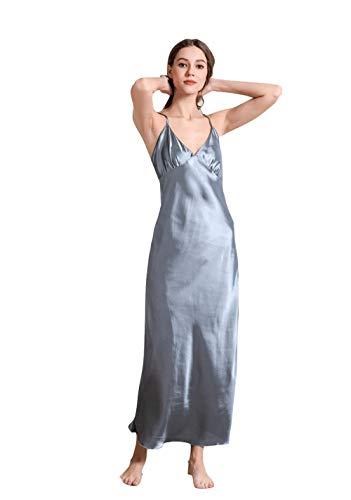 Vestido de Mujer Sexy con camisón de Seda, Vestido de Tirantes de Verano con Cuello en V, Cuello en V Sexy, Pijamas Largos