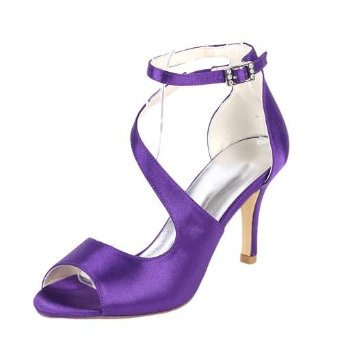 Zapatos de boda para mujer, con puntera abierta, para novia, fiesta, fiesta,...