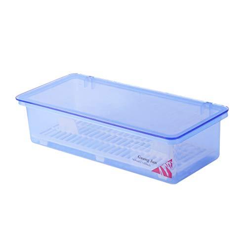 BESTonZON Boite de Rangement Couverts avec Couvercle et Égouttoir Couverts Vaisselle Baguettes Organisateur de Rangement Cuisson Antipoussière Transparent Bleu