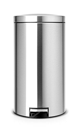 Brabantia 424229 Poubelle à pédale Silent avec seau intérieur en plastique, 2 x 20 L - Argent