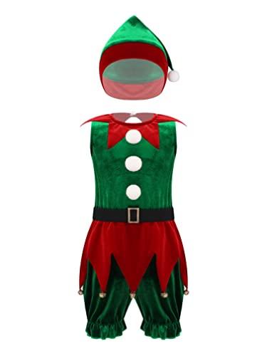 ranrann Mono Bebé Niña Navidad Ropa Navideña Christmas Cosplay Santa Claus Disfraz de Navidad Ropa Invierno Conjuntos con Sombrero Navideño Verde A 9-12 meses