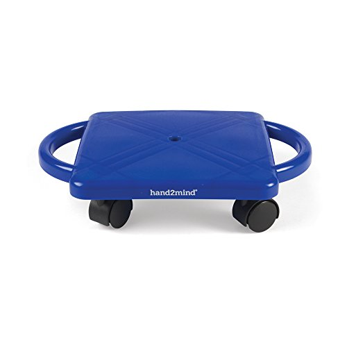 hand2mind 66189 Blue Indoor Scooter Board With Safety Handles For Kids Ages 6-12, Plastic Floor Scooter Board With Rollers, Physical Education For Home, Homeschool Supplies (Pack of 1)