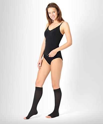 ®BeFit24 Gambaletti a compressione graduata a punta aperta (18-21 mmHg, 90 Denari, Classe 1) per uomo e donna - Calze elastiche antitrombo - Gambaletto per aereo - [ Size 3 - Short: A - Nero ]