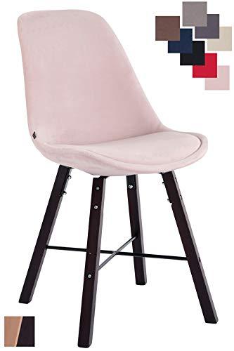 CLP Besucherstuhl Laffont Samt Mit Hochwertigem Sitzpolster I Lehnstuhl Mit Stabilem Holzgestell I Sitzhöhe 48 cm Pink, Cappuccino