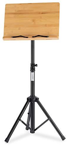 Classic Cantabile OSW-125 Notenpult Bambus - stabiles Pult mit Notenablage aus Bambus - praktische Notenklemmen - besonders auch für Kinder geeignet