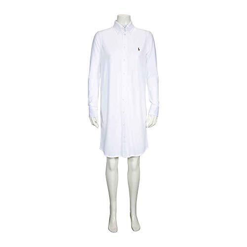 Polo Ralph Lauren Damen Kleid Oxfd SD W HT-Long Sleeve-Casua Knit Oxford, Weiß (White XW9LO), Medium