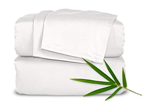 "Pure Bamboo Sheets - Queen Size Bed Sheets 4pc Set - 100% Organic Bamboo - Incredibly Soft Breathable Fabric - Fits Up to 16"" Mattress - 1 Fitted Sheet, 1 Flat Sheet, 2 Pillowcases (Queen, White)"