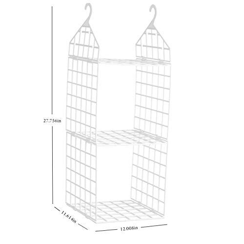 XIAOLIN Home Hanging Closet Organizer/Closet Hanging Storage Rack/Closet Organizer Hanging Shelves/Sweater Hanging Organizer/Hanging Clothes Hanging Shelf Closet Organizer (Two-Layer Combination)