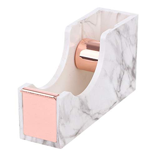 Multibey Acrylic Adhesive Tape Dispenser Heavy Duty Nonslip Tape Cutter, 1-inch Rose Gold Core Marble Texture Office Supplies (Rose Gold)