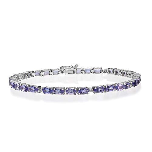 Gin & Grace 925 plata esterlina diamante natural (I1, I2) y la pulsera Tanzanita genuino para la Mujer