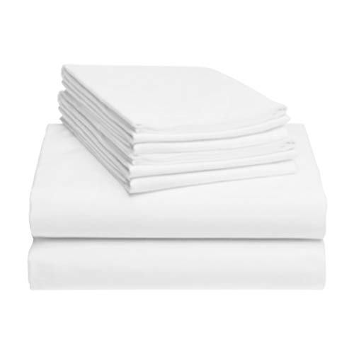 "LuxClub 6 PC Sheet Set Bamboo Sheets Deep Pockets 18"" Eco Friendly Wrinkle Free Sheets Hypoallergenic Anti-Bacteria Machine Washable Hotel Bedding Silky Soft - White Queen"