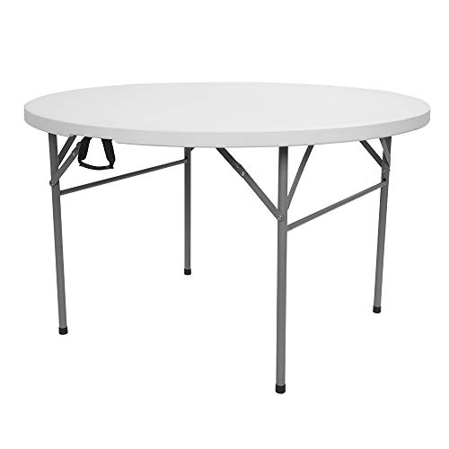 VINGLI 48' Round Bi-Folding Commercial Table, 4 Feet Portable Plastic Dining Card Table for Kitchen or Outdoor Party Wedding Event, White Granite