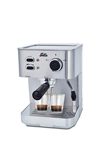 Solis Primaroma 1010 - Pistonmachine - Espressomachine - RVS - Krachtige 15 bar pompdruk - Geschikt voor type koffie: Gemalen koffie | Pads Melkopschuimmethode: Stoompijpje Aantal kopjes per zetbeurt: 2 inclusief kopjesverwarmer Inclusief heetwaterfunctie inclusief heetwaterfunctie