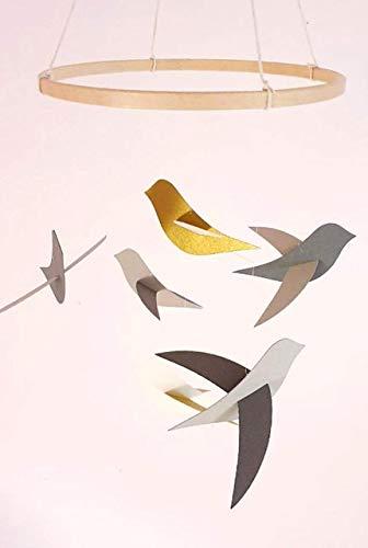 Mobil für Baby 6 Graue und goldene Vögel und ihr Holzkreis, Vogeldekor, Geburtsgeschenk, Mobil für Wiege