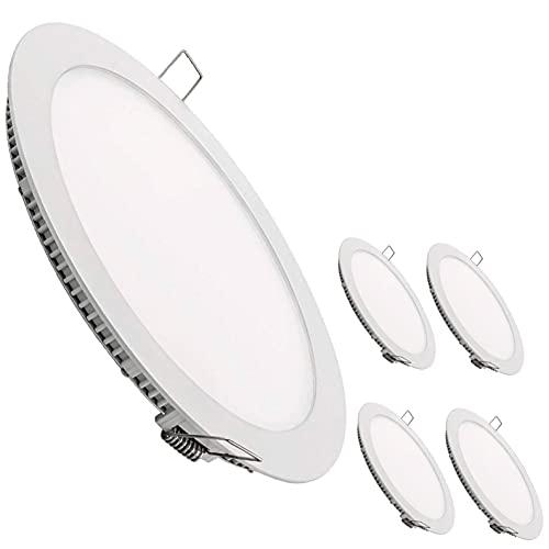 Pack 5x Downlight LED Panel Extraplano Redondo 20W. Color Blanco Frio (6500K). 1800 Lumenes. Corte Standard.