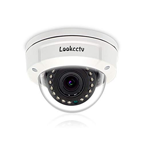lookcctv Cámara de Seguridad Domo 4MP 1/2.5'Sensor 2.8-12 mm Lente varifocal Visión Nocturna a Prueba de vandalismo Sistema de vigilancia del hogar Cámara IP PoE para Exteriores Interiores