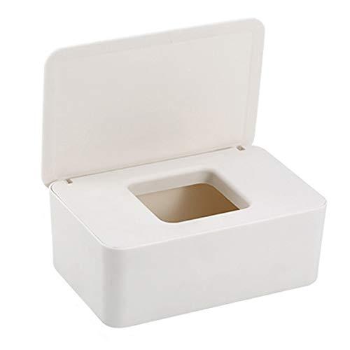 Moderno escritorio caja de pañuelos de escritorio, caja dispensadora de pañuelos faciales, organizador de servilletas de capacidad ampliada con tapa sellada rectangular hogar (blanco)