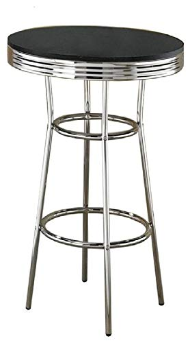 Coaster Home Furnishings CO-2405 Bar Table, Black/Chrome Bar Height Stainless Steel Top